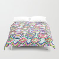 ikat Duvet Covers featuring ikat by  Ray Athi