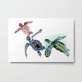 Sea Turtle Family, family art Metal Print