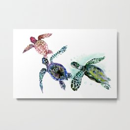 Sea Turtle Family, family art Metal Print