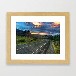 North Fork Hwy Sunset Framed Art Print