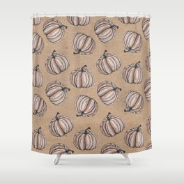 Fall Feels Pumpkin Pattern - Halloween Vibes Shower Curtain