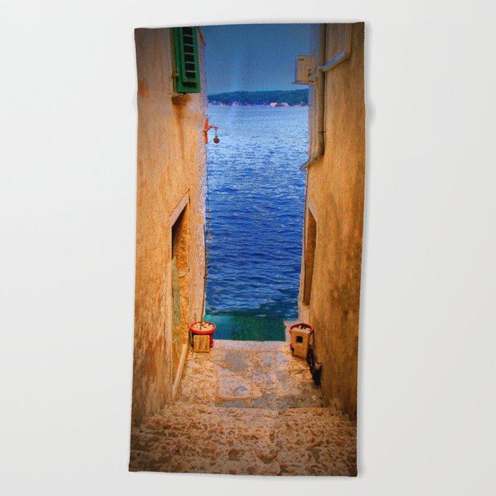 Stairs to the Sea Beach Towel