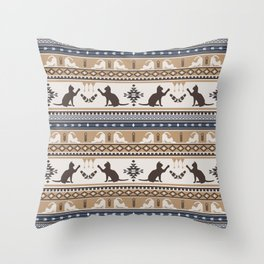 Boho cats   Domestic house cat tan Throw Pillow