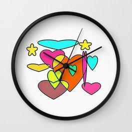Colourful heart Wall Clock