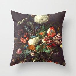 Vase of Flowers II - de Heem Throw Pillow