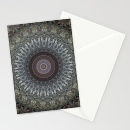 Mandala in grey and brown tones Stationery Cards