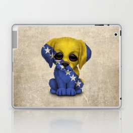 Cute Puppy Dog with flag of Bosnia - Herzegovina Laptop & iPad Skin