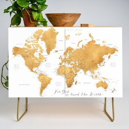 For God so loved the world, world map in gold Credenza