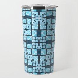 Structured Elegance Blue Grey Squares Geometric Print Travel Mug