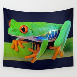 TREE FROG ON BAMBOO Wall Tapestry
