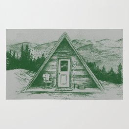 Tiny Cabin on the Mountain Rug