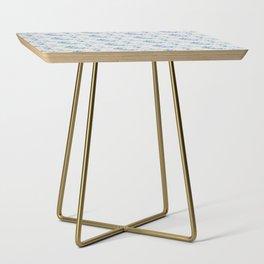 Blue Jasmine Burlap Print Side Table