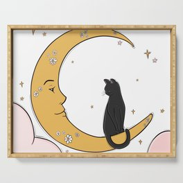 Black Cat on the Moon Serving Tray