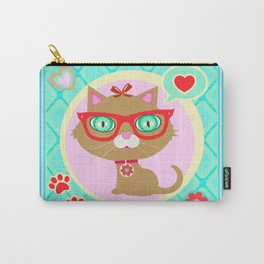 Cute Hipster Kitty Cat Carry-All Pouch