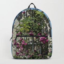 Blue door pink flowers - Provence, France Backpack