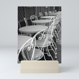 Cafe Tables and Chairs - black and white Mini Art Print