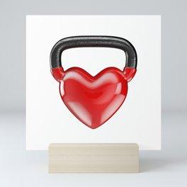 Kettlebell heart vinyl / 3D render of heavy heart shaped kettlebell Mini Art Print