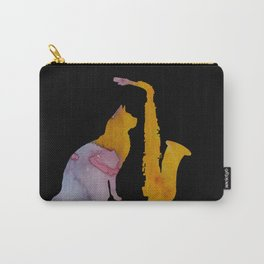 Cat And Saxophone Carry-All Pouch