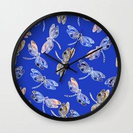 Dragonflies Blue Wall Clock