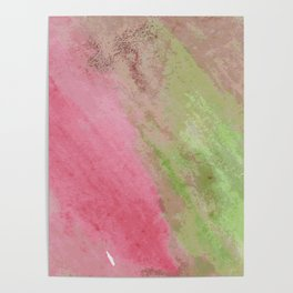 Abstract pink green watercolor ombre brushstrokes Poster