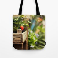 strawberry Tote Bags featuring Strawberry by Nina's clicks