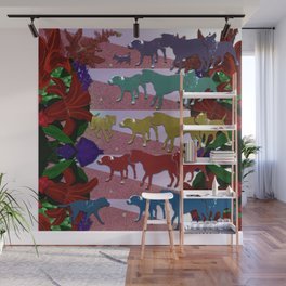 Dogs and Flowers Wall Mural