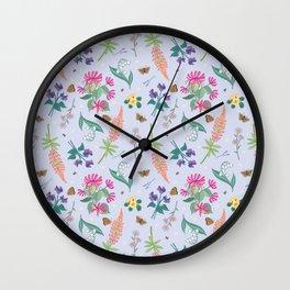 Violets Honeysuckle & Lavender Pattern Wall Clock