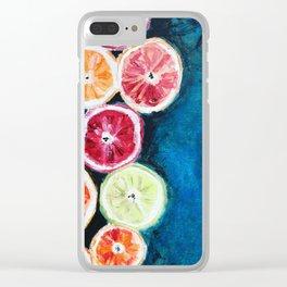Blue citrus Clear iPhone Case