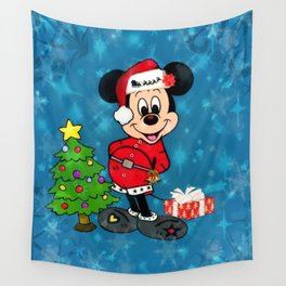 Christmas Mouse Popart by Nico Bielow Wall Tapestry