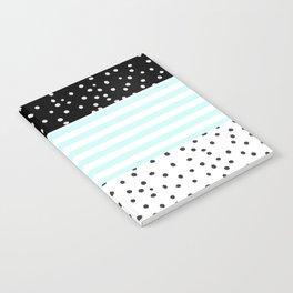Modern black white teal stripes watercolor polka dots Notebook