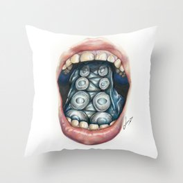 Cthulhu Lips Throw Pillow