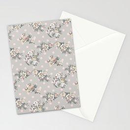 Vintage chic artistic pink ivory polka dots floral Stationery Cards