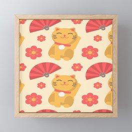 Japanese Lucky Cat Fan Flower Pattern Cute Framed Mini Art Print