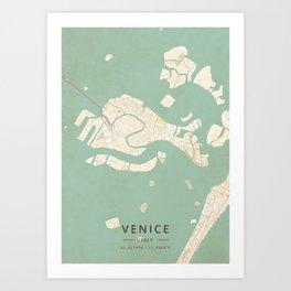 Venice, Italy - Vintage Map Art Print