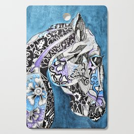 Zentangle Horse with Flowers Cutting Board