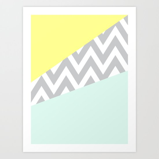 Mint & Yellow Chevron Color Block Art Print