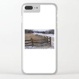 Kansas Wintery Wooden Fence Clear iPhone Case