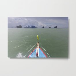 Thai boat and limestone islands Metal Print