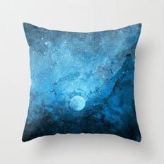 Blue Space Abstract Throw Pillow