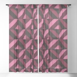 Concrete wall - Wine red Sheer Curtain