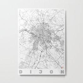 Dijon Map Line Metal Print