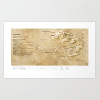 arrakis Art Prints featuring Arrakis-the desert planet Dune map by Martin Sanders