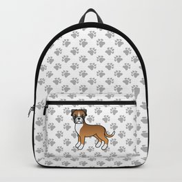 Cute Fawn Boxer Dog Cartoon Illustration Backpack