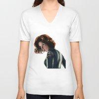 black widow V-neck T-shirts featuring Black Widow by Christine Tromop