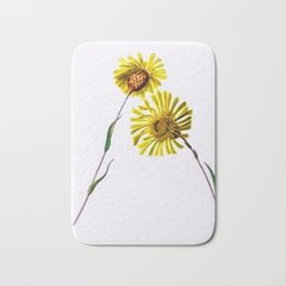 Yellow Vintage Wildflowers Bath Mat