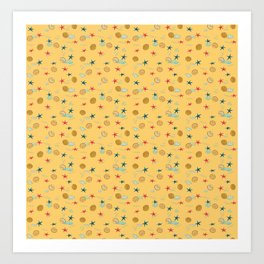 seashells and starfishes - yellow orange Art Print