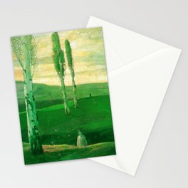 Springtime in Campagna, Salerno, Italy (Little girl chasing butterflies) by Lajos Gulácsy Stationery Cards