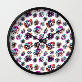 colorful fall floral Wall Clock