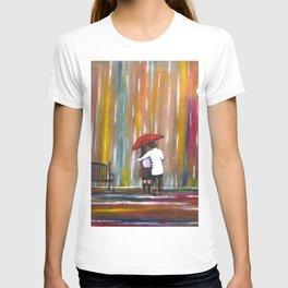 Love in the Rain romantic painting by Manjiri Kanvinde T-shirt