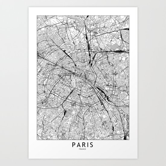 Paris White Map by multiplicity